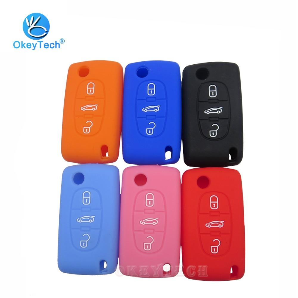 Okeytech, capa de chave de carro de flip dobrável, capa de silicone de borracha, proteção de pele para peugeot 407 307 308 607 para citroen c4 c5
