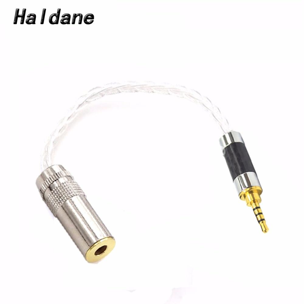 Envío Gratis Haldane 10cm 2,5mm TRRS equilibrado a 4,4mm balanceado hembra 7N OCC plateado Cable adaptador de Audio