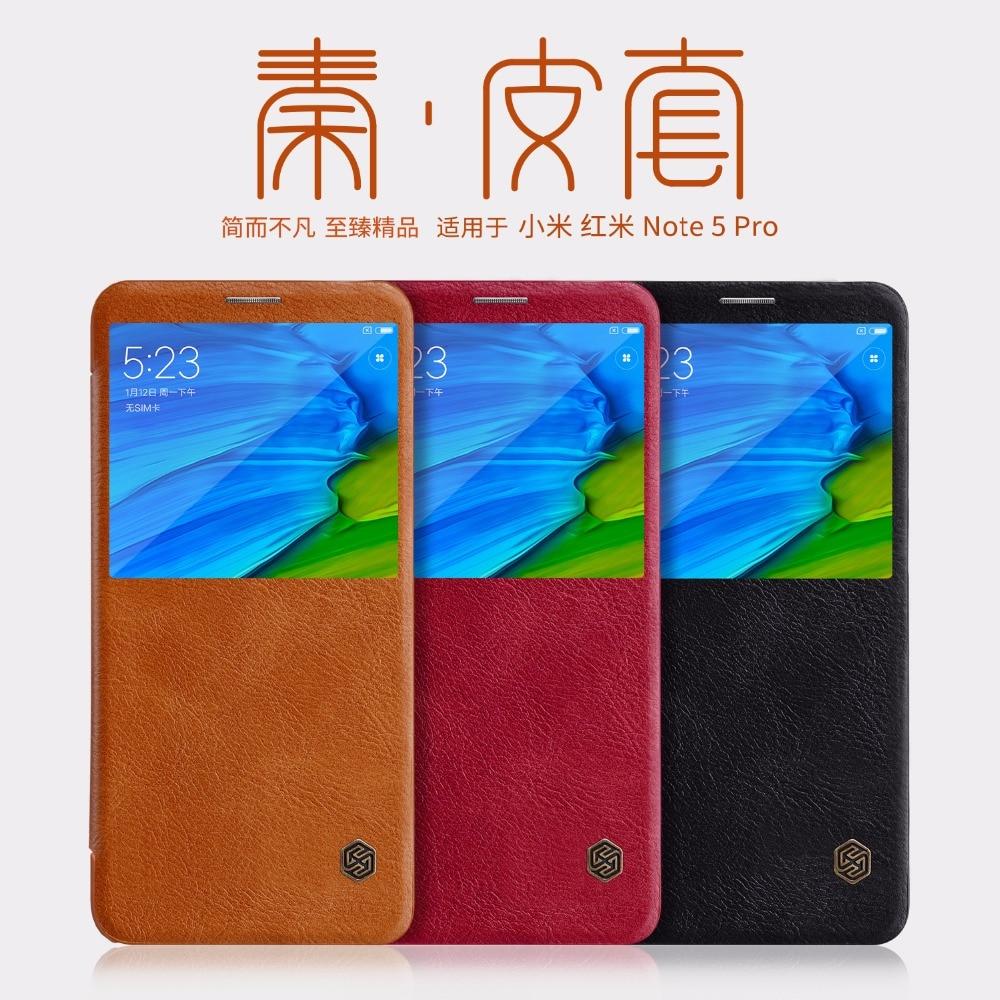 Для Xiaomi Redmi Note 5 глобальная версия кожаный чехол Nillkin QIN серия откидной Чехол Redmi Note 5 Роскошный бренд большое окно