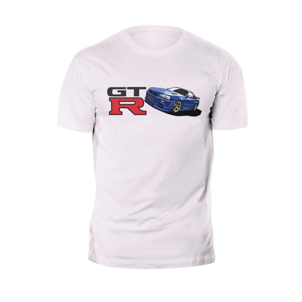 Novedad Cool Tops camisetas para hombres Camiseta de manga corta Skyline GTR R34 BNR34 Logo JDM Cool Tops camiseta