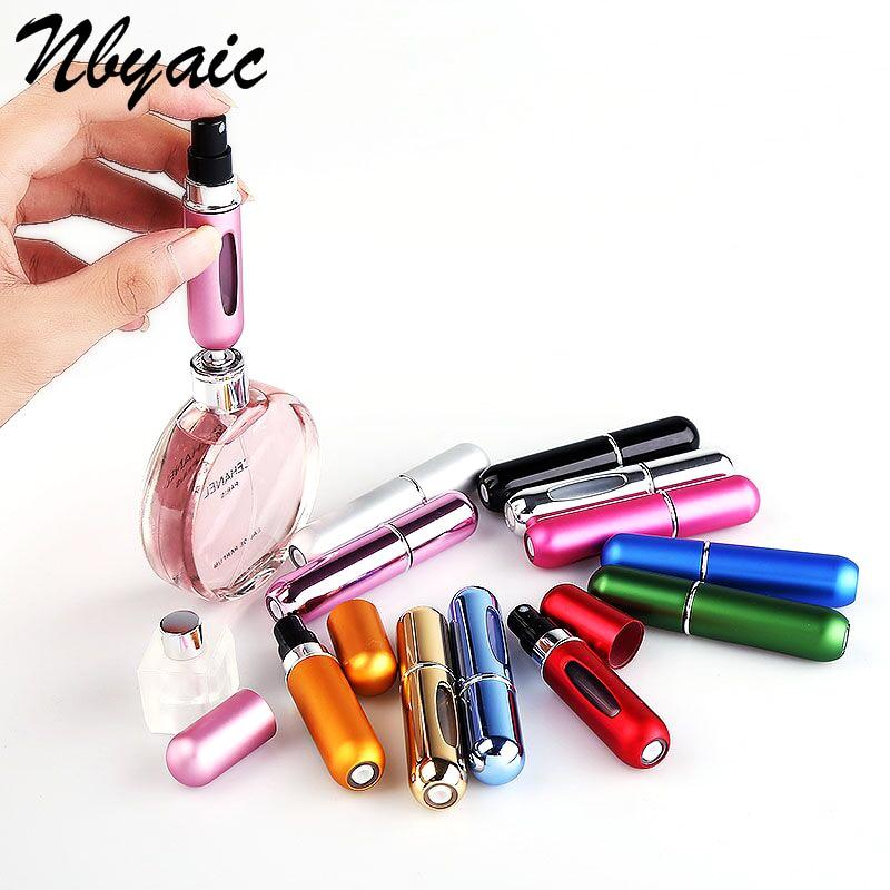 Pin caliente 5ML 8ML Mini-portátil viaje en la parte inferior se puede llenar con atomización de Perfume botella de Perfume Spray bomba de aire