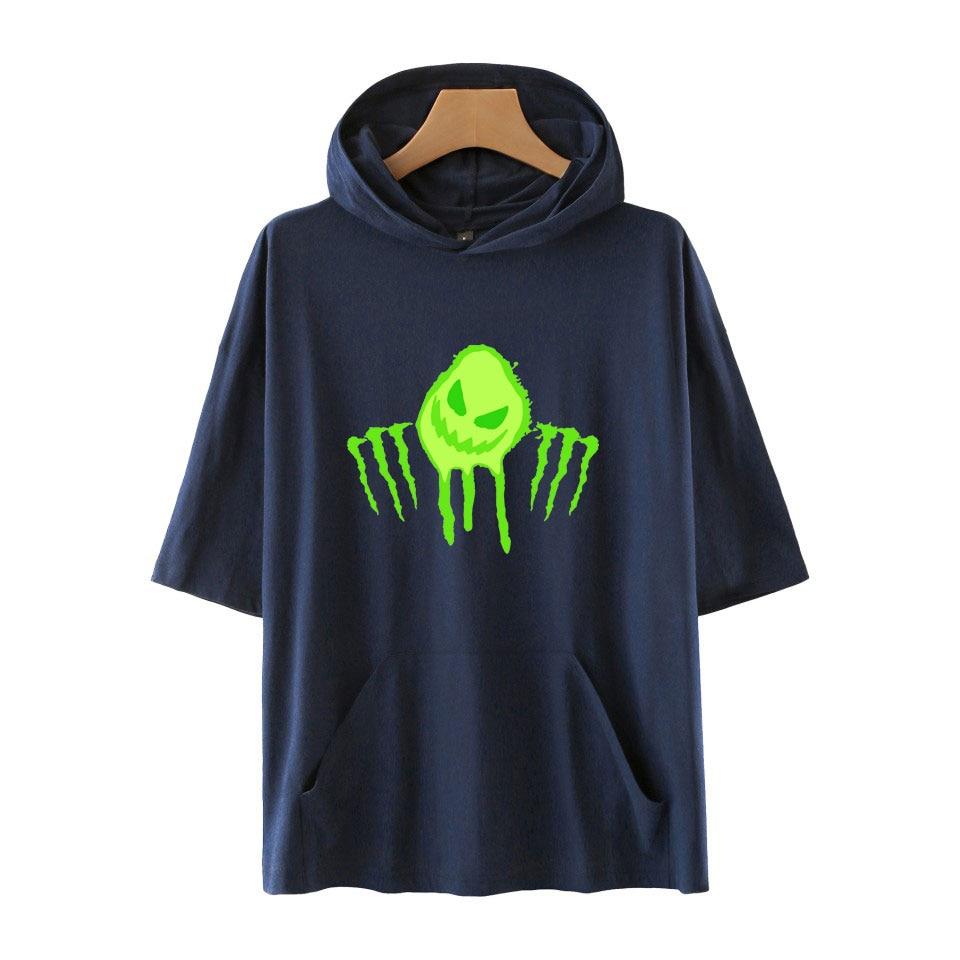 "Nuevo ""Tóxico"" kpop personaje de manga corta Camiseta casual desgaste impreso con capucha camiseta unisex suelta tendencia pulóver"
