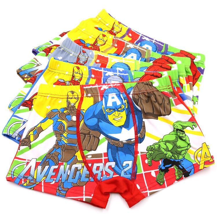 3Pcs/lot Cartoon Boys Underwear Soft Breathable Kids Boxer For 3-11T Baby Panties Captain America Panty Briefs Underpants