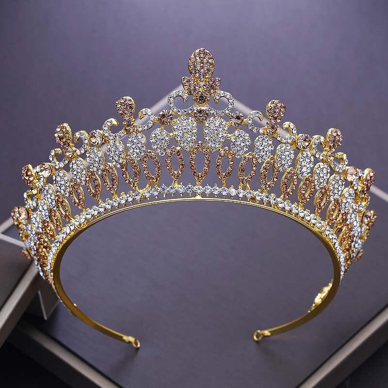 Tiara de boda de cristal Vintage para novia, diamantes de imitación, corona...