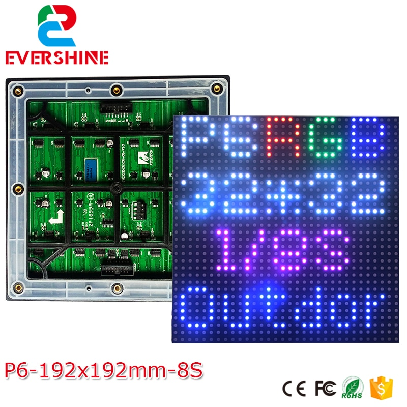 Evershine 6mm P6 SMD3535 al aire libre RGB 192x192mm 32*32 píxeles 1/8 Scan a todo Color LED módulo alto brillo Shenzhen fábrica