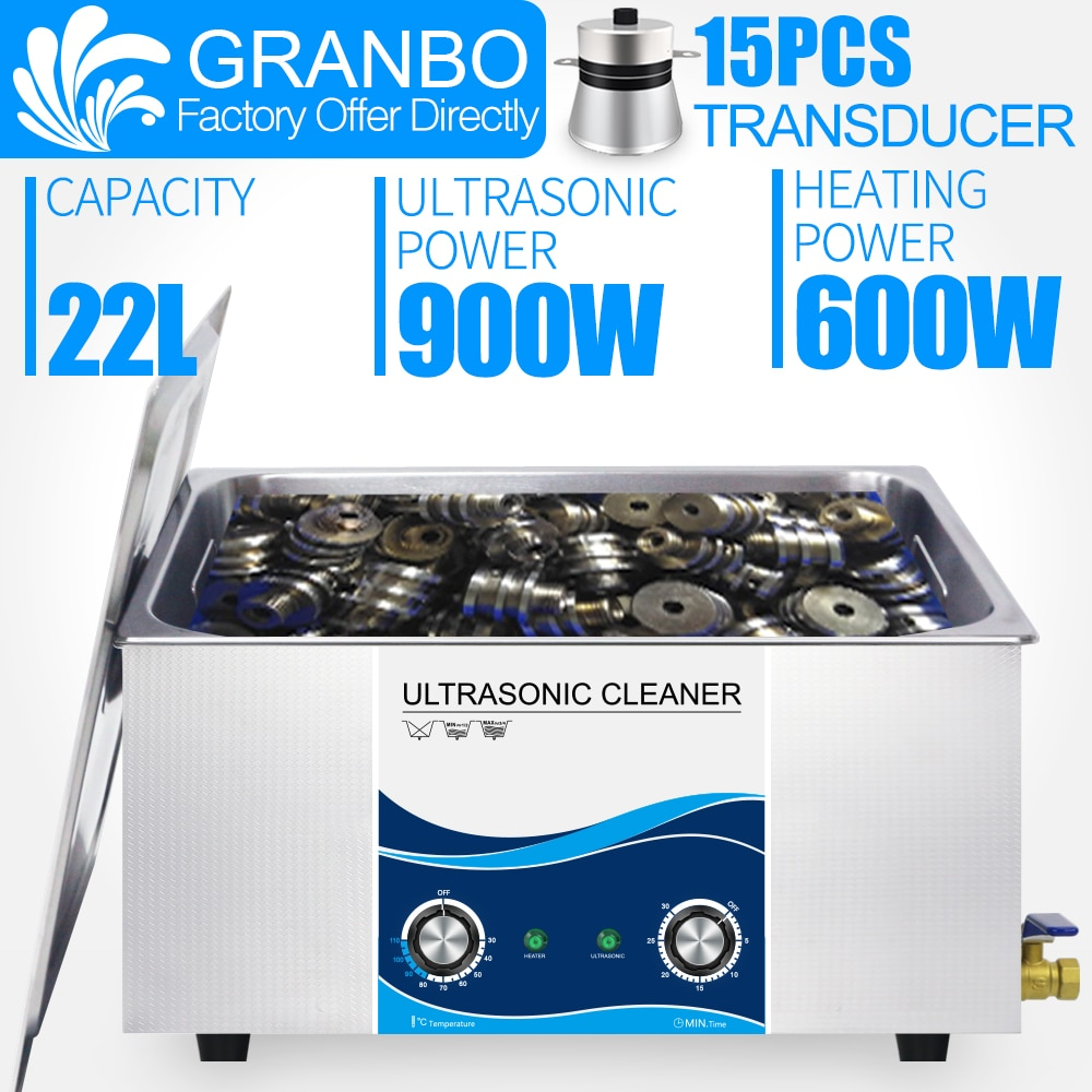 Granbo Ultrasonic Cleaner Industrial 22L 900W Heated Timer Stainless Steel Ultrasound Bath For 3D eyeglasses Auto Engine Parts industrial 88l ultrasonic cleaner generator engine oil auto car parts motherboard hardware washer heated bath equipment