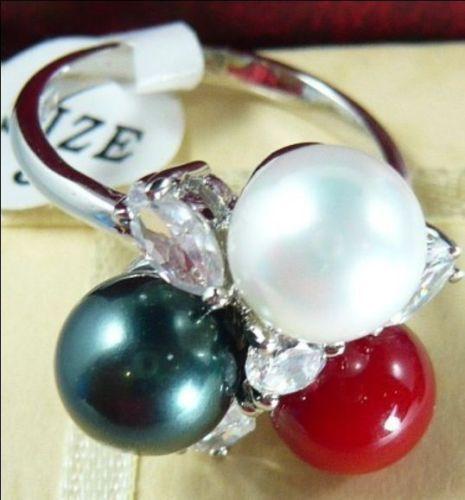 Envío> nuevo anillo de cristal de perla de concha del Sur multicolor de 8mm Tamaño 7/8/9 #55
