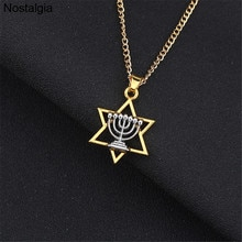 Étoile de David Menorah bijoux juifs collier religieux femmes bijoux hommes Judaica hébreu israël foi lampe hanoukka pendentif
