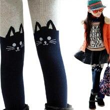 Collants en coton tricoté pour filles   Collants de dessin animé chat en Patchwork, jolis collants chauds pour enfants, printemps automne 2019