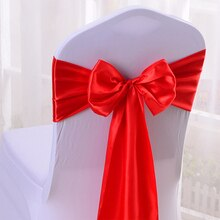 """Venta al por mayor 10 piezas rojo satinado silla arco fajas cinta para la recepción de la boda banquete decoración 6,7 """"X 108"""" (17X275 CM) SCSB17306"""