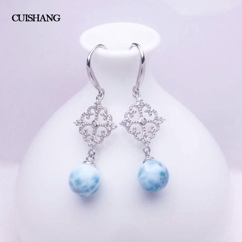 CSJ الطبيعي اريمار انخفاض القرط الاسترليني 925 الفضة الأزرق حجر للنساء L الزفاف حفلة خطوبة للنساء السيدات الفتيات هدية