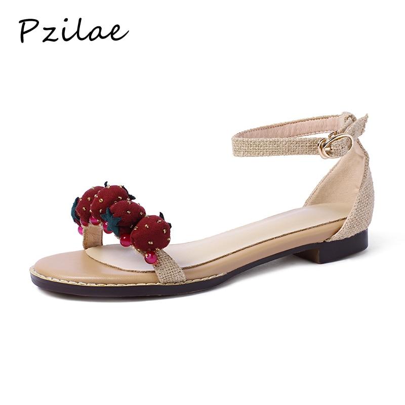 Pzilae sandale cómodo mujer 2019 sandalia zapatos planos moda ocio tobillo Correa tacones albaricoque verano Zapatos Mujer Sandalias 39