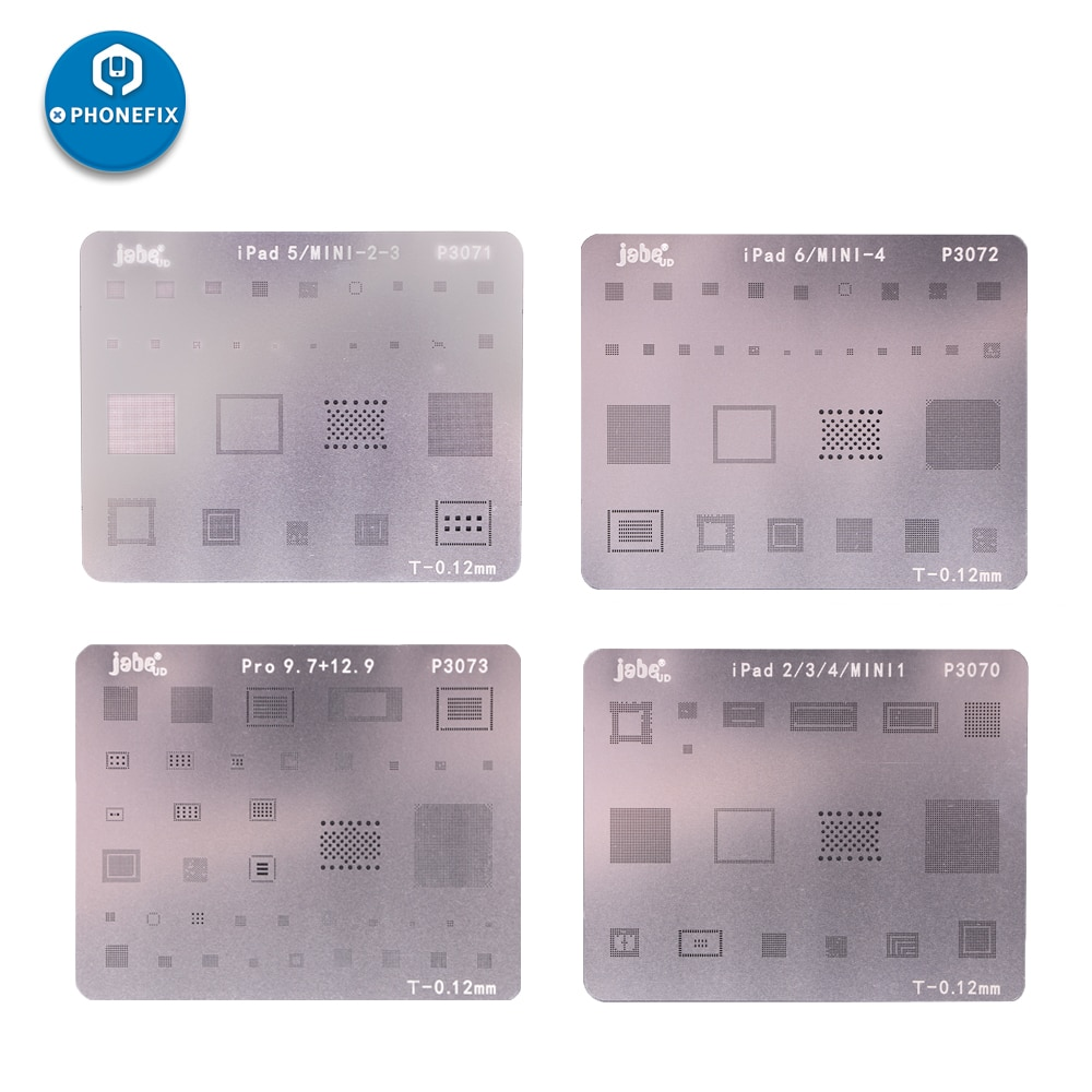 ipad Motherboard BGA IC Chip Reballing Stencil Planting Tin Template for iPad 2 3 4 5 6 Air Air2 Mini 1 2 3 4 Pro 9.7 Pro 12.9