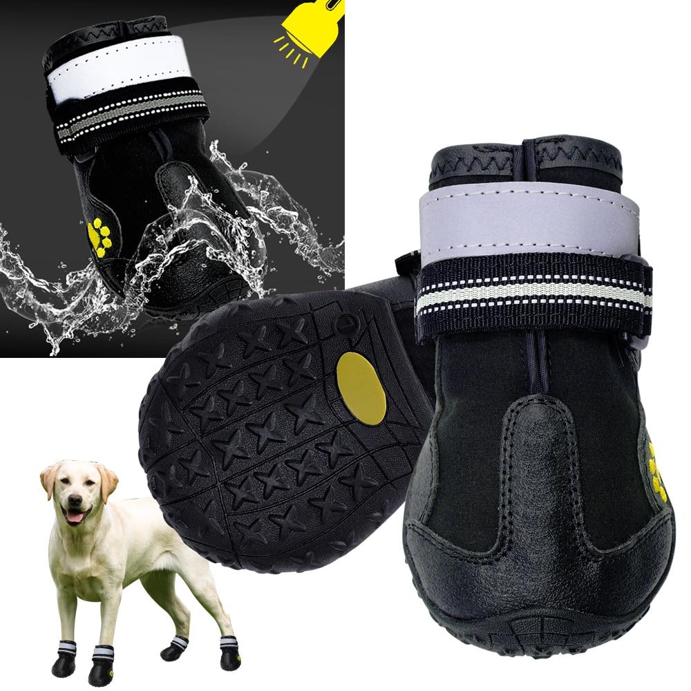 4pcs/set Pet Dog Shoes Reflective Waterproof Dog Boots Warm Snow Rain Pets Booties Anti-slip Socks Footwear For Medium Large Dog