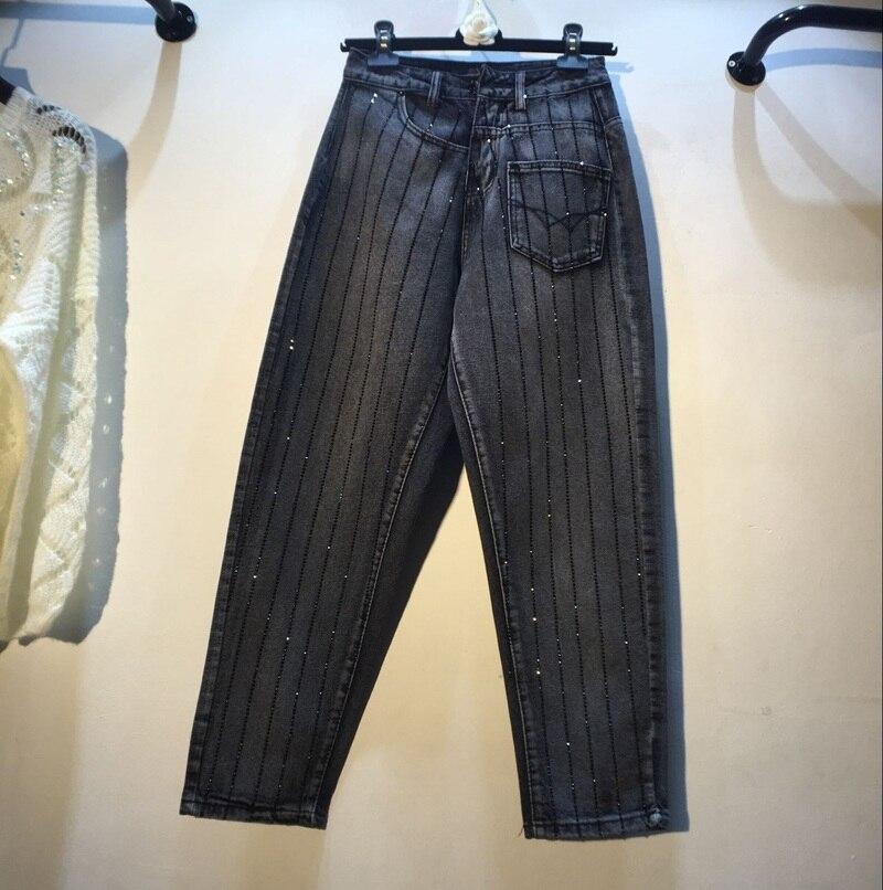 New Heavy Industry Vertical Strip Hot Drill High Waist Slim Straight Black Jeans Girls Pants