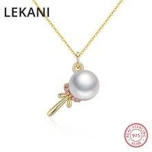 LEKANI Marke Nette Lutscher Anhänger Halsketten S925 Silber Mit Gold Überzogene Perle Kragen Für Frauen Mädchen Kristalle Von Swarovski