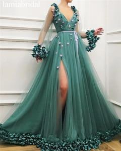 Женское платье для выпускного вечера, ТРАПЕЦИЕВИДНОЕ зеленое платье с длинными рукавами и цветочным 3D рисунком, с высоким разрезом, 2019
