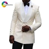 beige men wedding suits shawl lapel man blazer slim fit groom tuxedo double breasted jacket pants 2piece ternos costume homme