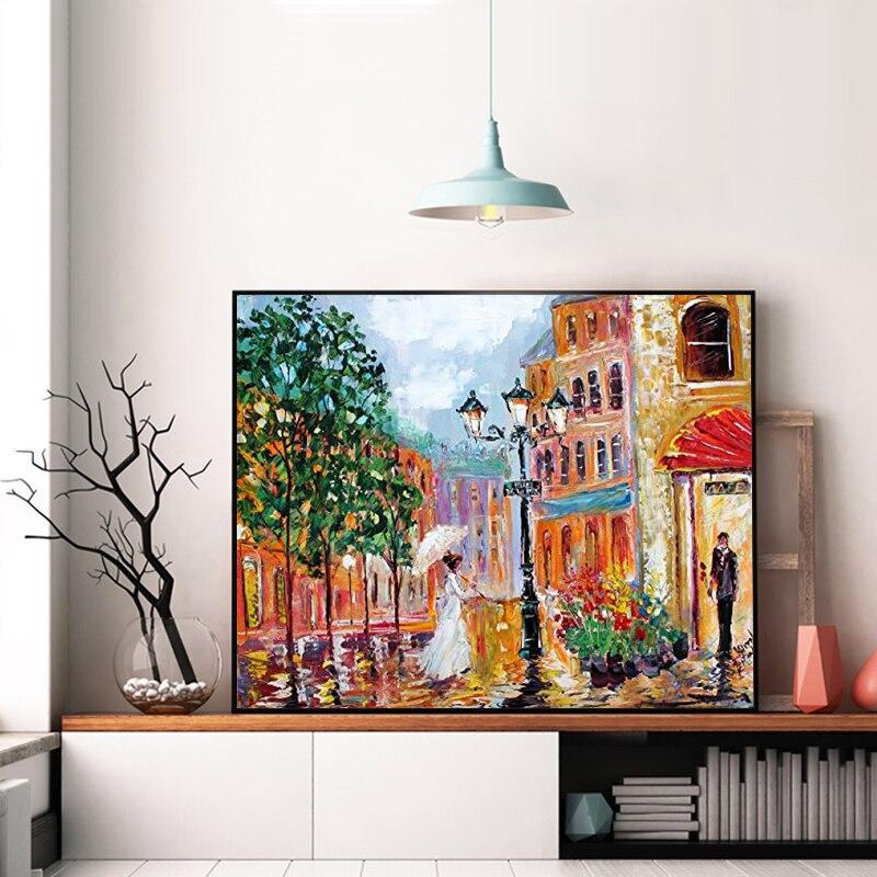 Arce rojo bosque choza otoño romántico paisaje pintura de DIY arte Digital pintura Digital Hotel pintura decorativa