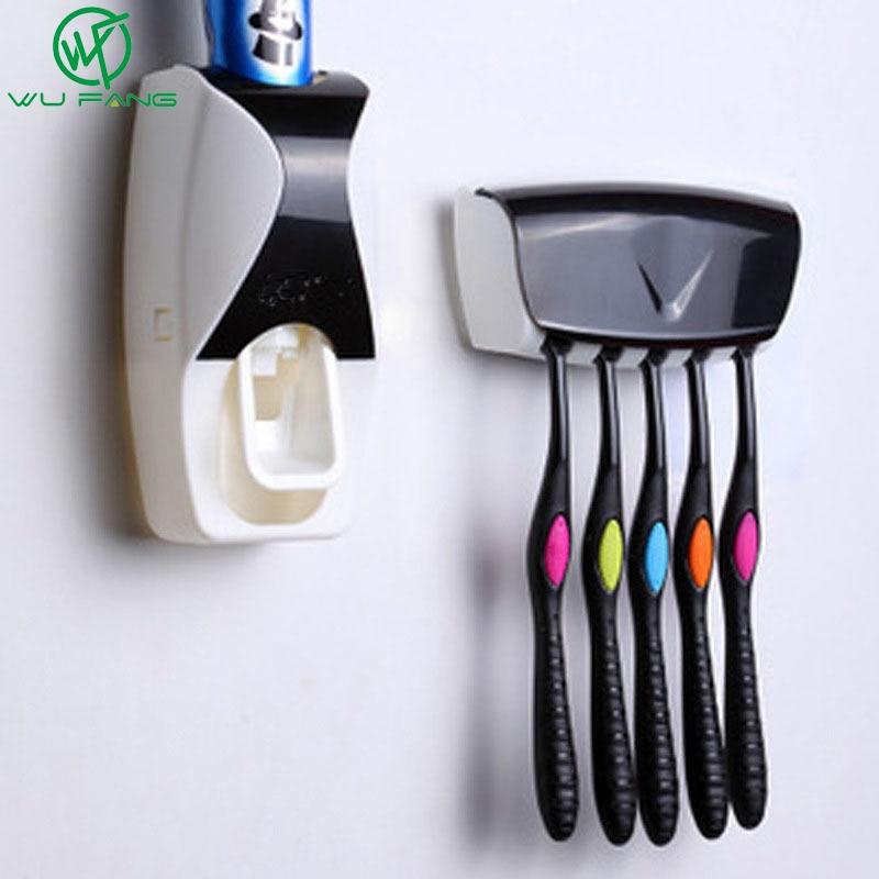 1 Набор аксессуаров для ванной комнаты, автоматический дозатор зубной пасты, держатель зубной щетки, настенная стойка, туалетные принадлежности для ванной комнаты