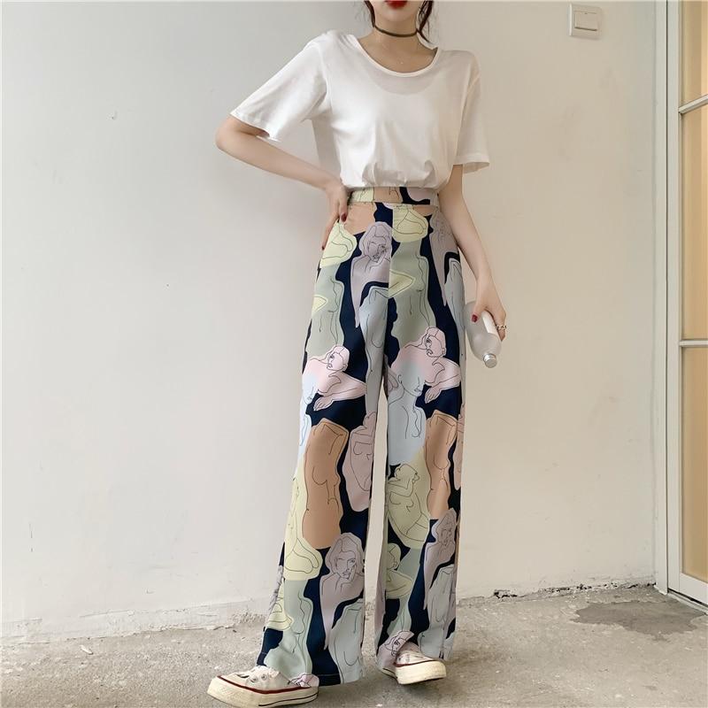 Fashion Chic Womens Two Piece Sets  Abstract Artistic High Waist Wide Leg Pants + White Basic T-shirt 2pcs Clothing Sets