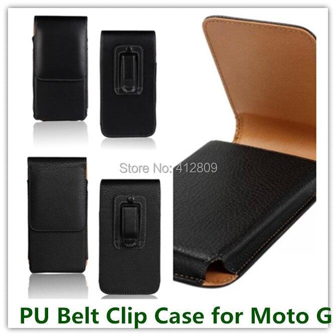 1PCS Negro Cor PU Belt Couro Clipe Lichee Capa Vertical Flip para Motorola Moto G XT1028 XT1032 Alta Qaulity saco de telefone celular