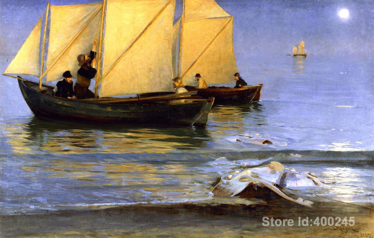 Escenas de Arte de playa pinturas al óleo pintadas a mano barcos de pesca Peder Severin Kroyer de alta calidad