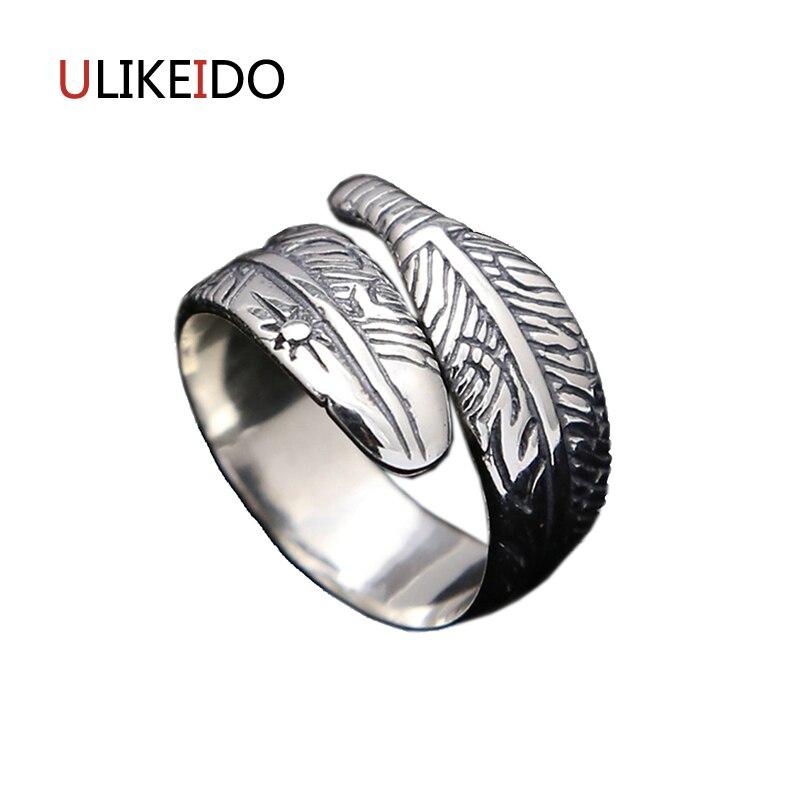 100% joyería de plata de ley 925 pura Takahashi Goros anillos con plumas de águila anillo de apertura para hombres y mujeres Regalo de Cumpleaños 173