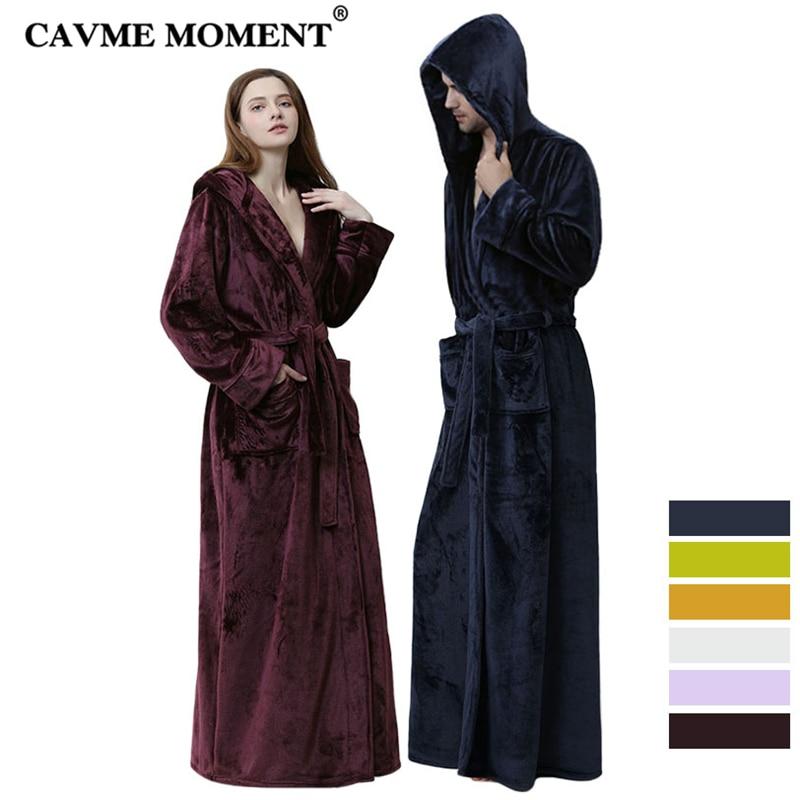 CAVME Flannel Hooded Robe Women Winter Long Kimono Men's Flannel  Loungewear Night Dressing Gown
