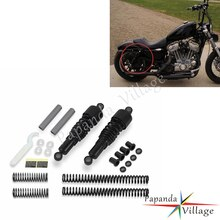 Papanda Motorbike Black Schokdempers Voor Achter Verlagen Slammer Kit voor Harley Sportster XL 883 1200 XLH883 1200 1988- 2003