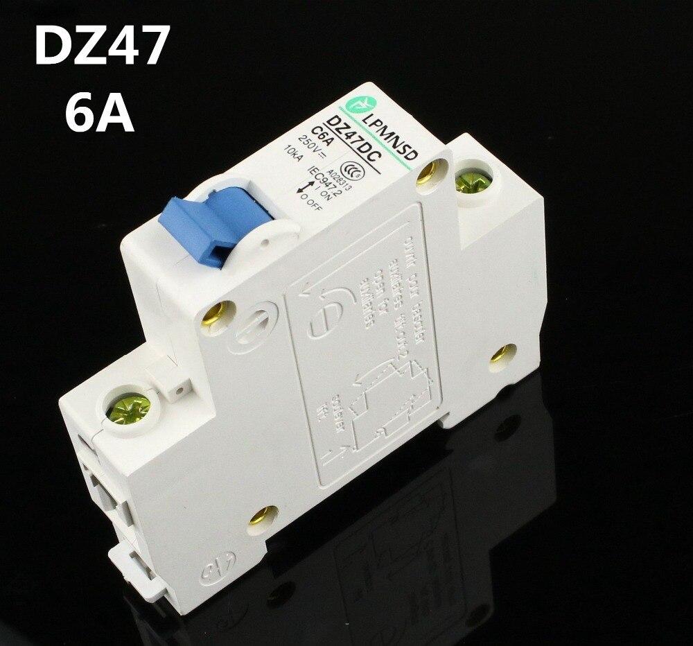 DZ47 DC 1P 6A 250V de energía Solar aire interruptor DC MCB eléctrica swich Antiflame