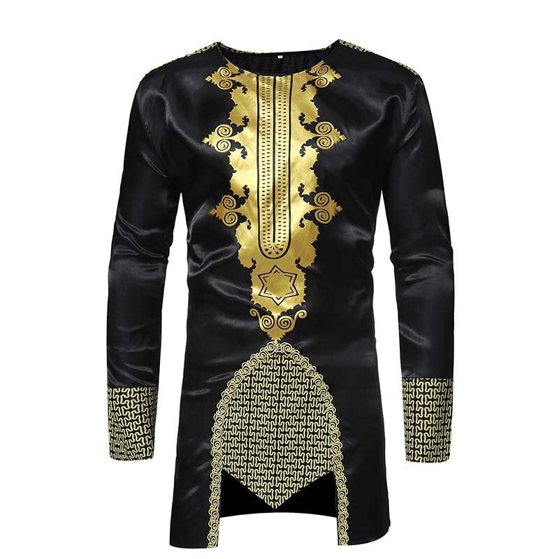 África ropa tradicional cuello redondo estampada de manga larga Camiseta blusa negro dorado africano viento de talla grande M-XXXL