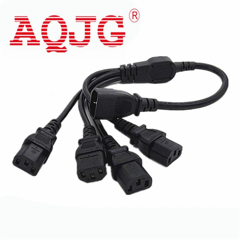 1 pcs High Quality IEC 320 C14 Male Plug to 4XC13 Female Y Type Splitter Power Cord , C14 to 4 x C13, 250V/10A AQJG