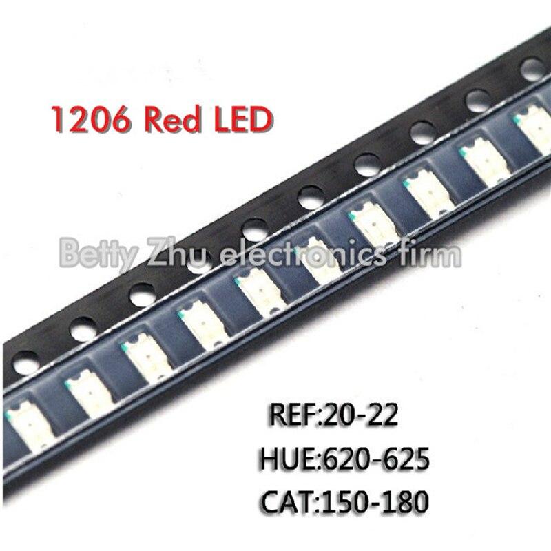 3000 قطعة/الوحدة 1206 الأحمر SMD LED مشرق الثنائيات الباعثة للضوء الأحمر 3216