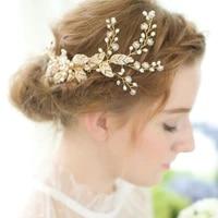 slbridal handmade rhinestones pearls flower leaf wedding hair comb tiara bridal headpieces crystals hair accessories bridesmaids
