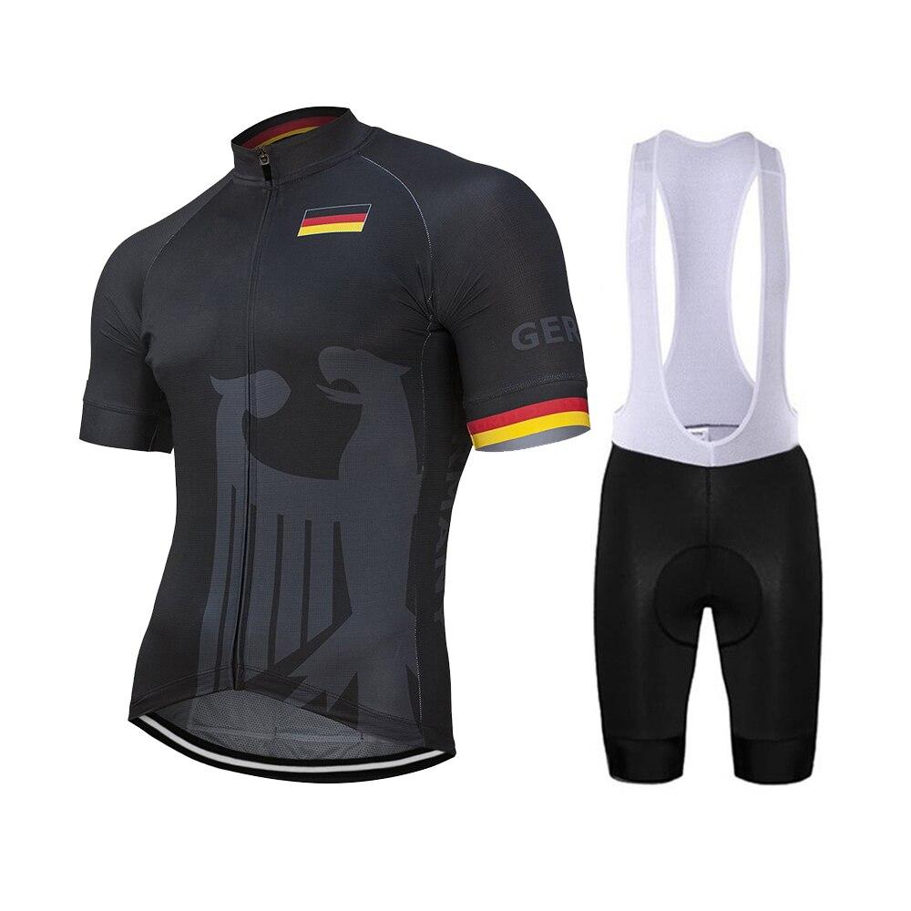 Equipo nacional alemán nuevo verano ciclismo Jersey Set bicicleta carrera de montaña negro bicicleta ropa Culote transpirable 9D Gel