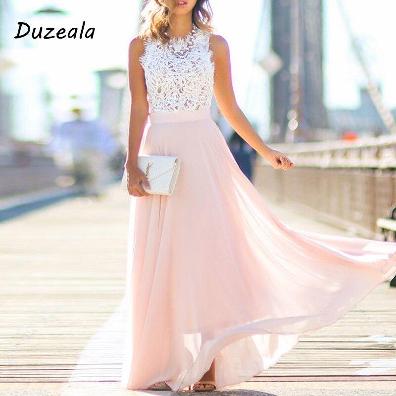 Duzeala Neue Ankunft 2021 Sring Abend Party Aushöhlen Strand Kleid Frauen Boho Ärmellose Maxi Kleid Party kleider