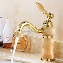 Robinet de lavabo en marbre Royal   Robinets en jade chaud et froid, robinet de lavabo entièrement en cuivre doré en pierre de marbre, robinet de lavabo en or M1017