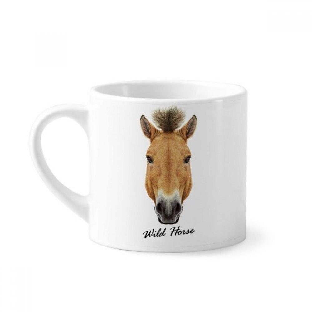 Marrón fuerte caballo salvaje Animal Mini taza de café Taza de cerámica blanca con mango 6 onzas de regalo