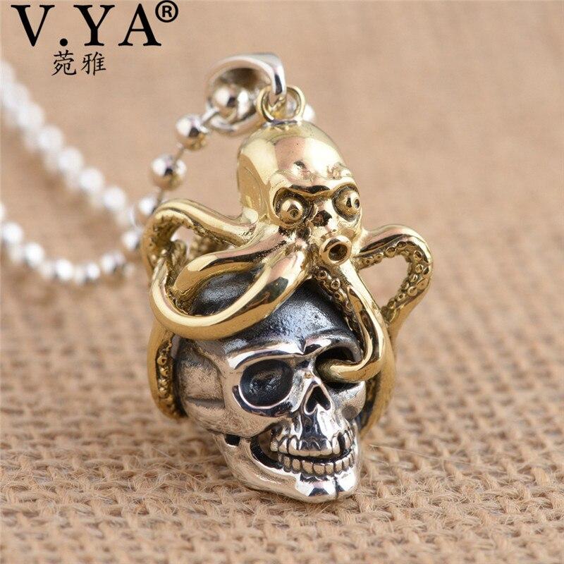 V. ya único bronze polvo + 925 prata esterlina pingentes ajuste colares para homens mulher legal crânio jóias