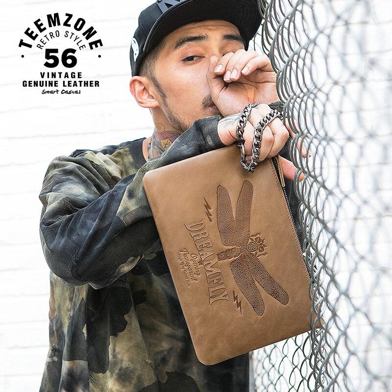 Nuevo bolso de mano para hombre de marca famosa de alta calidad, cartera larga informal de cuero genuino a la moda con cremallera para hombre con cadena multicapacidad 50