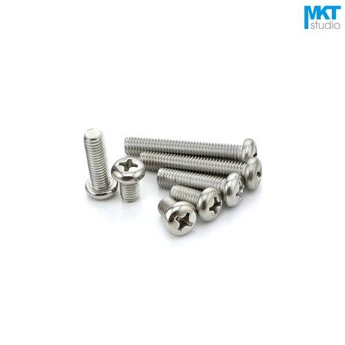 Tornillos de cabeza redonda de acero inoxidable 100 Uds M2.5 tornillos de cola plana altura = 45/50/60mm