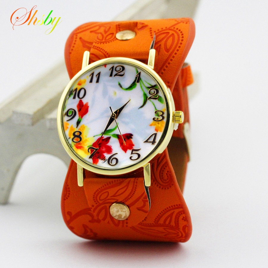 shsby new  Printed leather Bracelet Wristwatch Wide band Dress Watch with lovely flowers Fashion Women Casual Watch girl's gift gnova platinum classic genuine leather bracelet watch women vintage watch korean fashion leaf wristwatch girls gift
