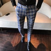 Hommes robe Pantalon Slim Fit formel affaires Plaid Pantalon hommes Pantalon A Carreau Homme Vintage carreaux costume Pantalon mariage Pantalon