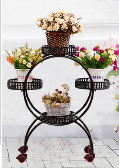 Ou shi, wrought iron multi-layer mobile push-pull florist. Pulley console pot frame.