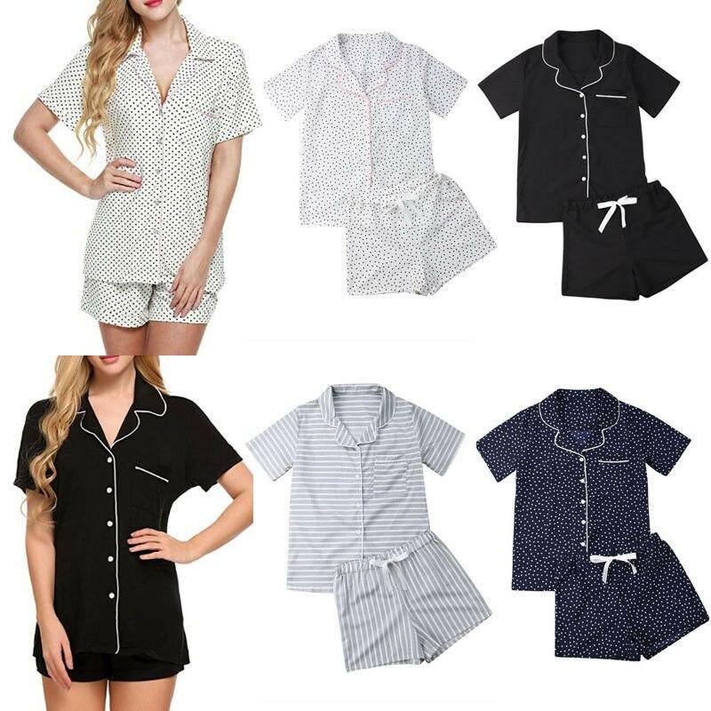 2019 Summer Womens Sexy Summer Home Wear Sleep Wear Pajamas Set Short Sleeves Sleepwear Tops+Pants Homewear Nightwear