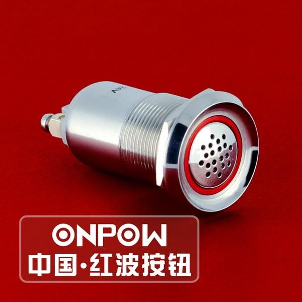 ONPOW 19mm Metal acero inoxidable Flash zumbador 12V 24V con luz LED 85dB sonido discontinuo (GQ19B-SM) CE, ROHS