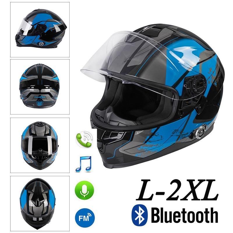 Casco Bluetooth de la motocicleta con doble visera de cara completa Flip Up intercomunicador integrado + Audio FM Motocross Street Bike Racing Road
