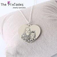 925 solid silver photo necklace customized heart necklace engraved your real picture keepsake jewelry