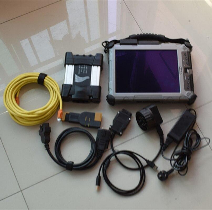 Para bmw ferramenta de digitalização para bmw icom next diagnosticar com software ssd 512gb modo especialista em xplore ix104 computador portátil win7 todos os cabos completos
